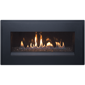 Esprit Gas Fireplace with metallic black surround