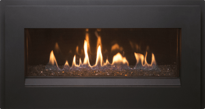 Esprit gas fireplace with painted black surround and glass burner