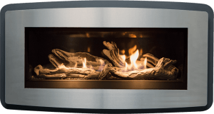 Esprit gas fireplace with stainless steel surround and driftwood logset burner