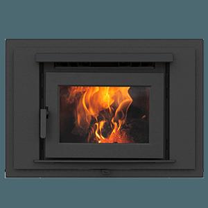 FP16 zero clearance wood burning fireplace with metallic black surround