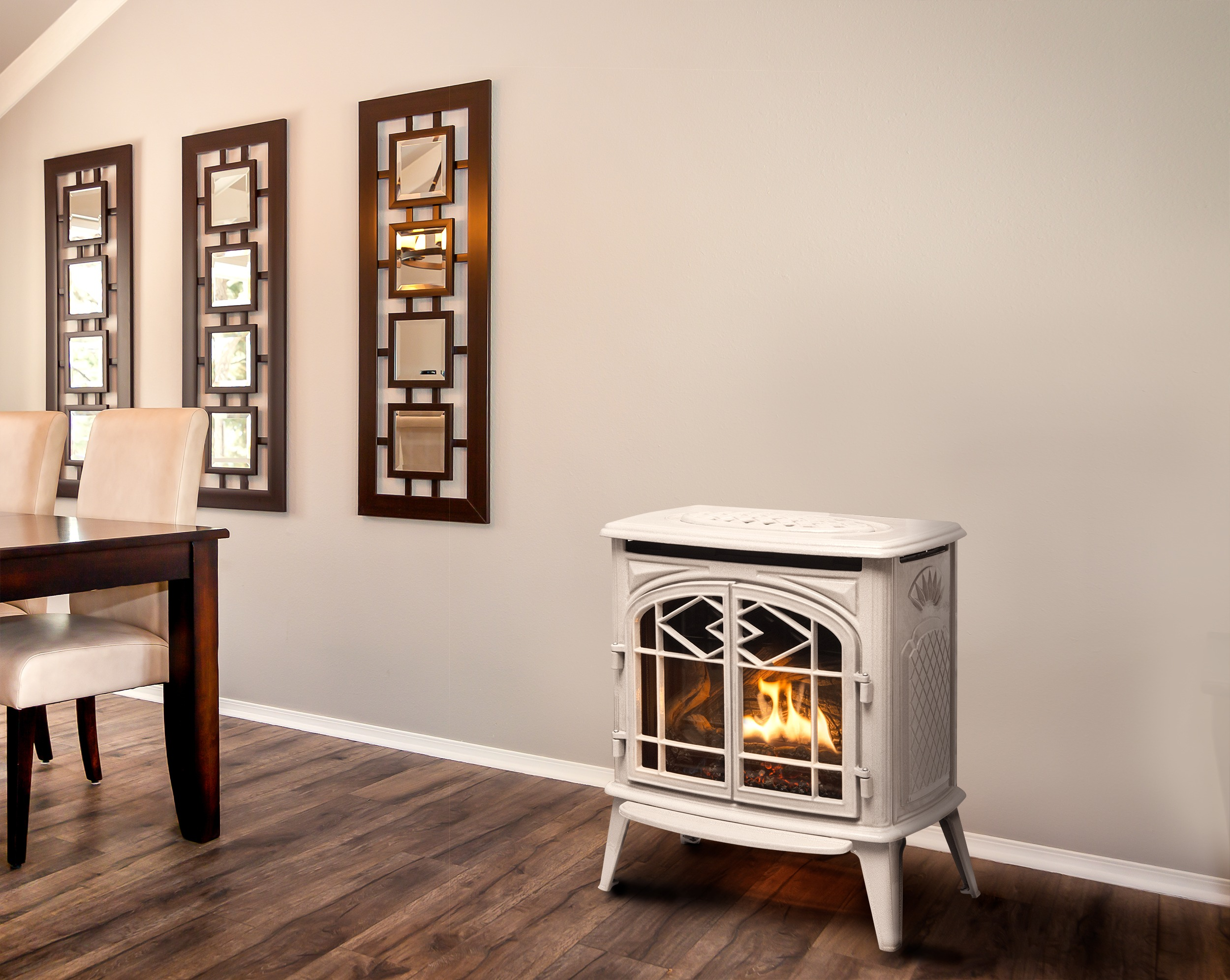 Trenton Classic Gas Stove in Antique White porcelain cladding in living room setting