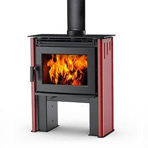 Neo 1.2 Wood Stove in Sunset Red Porcelain Enamel