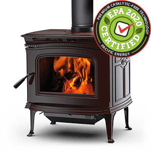 Alderlea T4 Classic LE wood stove in Majolica Brown featuring cast iron over steel technology