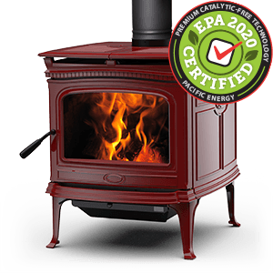 Alderlea T5 Classic LE wood stove in Sunset Red featuring cast iron over steel technology