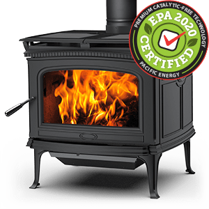 Alderlea T6 LE wood stove featuring cast iron over steel technology