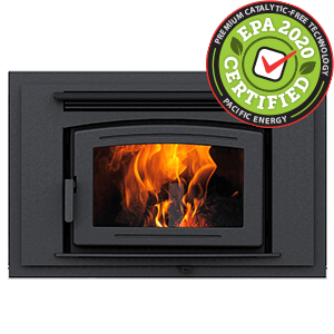 FP25 Arch LE Zero-Clearance Wood Burning Fireplace with surround in metallic black