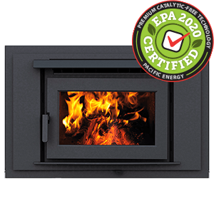 FP25 LE Zero-Clearance Wood Fireplace with contemporary surround in metallic black