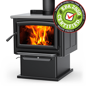 Summit LE wood stove with pedestal and metallic black door