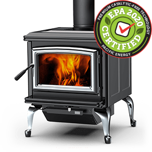 Super Classic LE wood stove with black porcelain enamel panels, nickel legs, nickel door, and nickel trivet