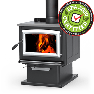 Super LE wood stove with pedestal and brushed nickel door