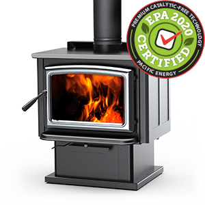 Vista LE Wood Stove with pedestal and Nickel door