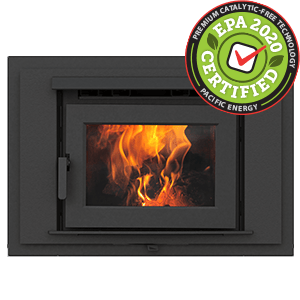 FP16 LE zero clearance catalytic free wood burning fireplace with metallic black decorative front