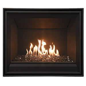 Tofino z25 Zero Clearance Gas Fireplace with painted black firebox panels and a diamond glass burner