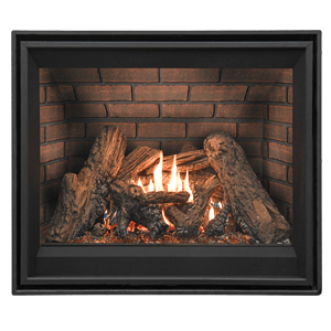 Tofino z25 Premium zero clearance gas fireplaces with premium logset, ember bed lighting kit and red brick firebox panels